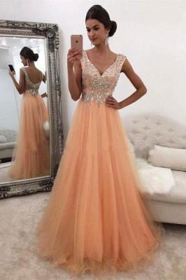 Gorgeous V-Neck Sleeveless 2020 Evening Dress Tulle Long With Crystals BA7561_1