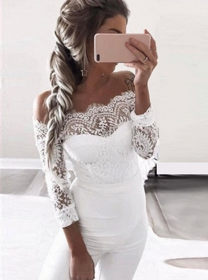 Charming Off-the-Shoulder Long Sleeves Bridesmaid Dress | Lace Appliques Jump Shirt On Sale BA8978_4