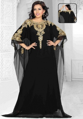 Elegant Black Lace Appliques Arabic Evening Dress 2020 Beadings Half Sleeve Jewel_1