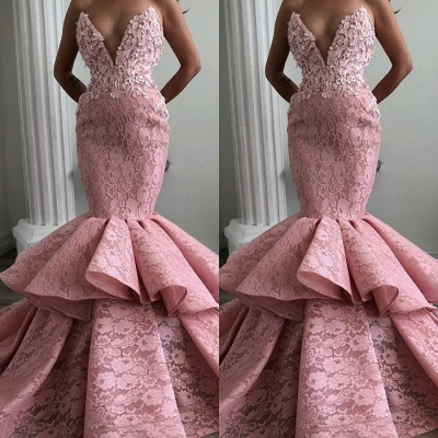 Stunning Sweetheart Mermaid Prom Dresses | 2020 Lace Ruffles Evening Gowns_2