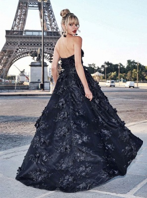 Stunning Black Sweetheart Sleeveless Zipper Prom Dress | Sexy Lace Appliques Asymmetrical Evening Gown_2