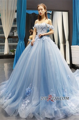 Off-the-shoulder Glorious Lace Appliques Prom Dresses_2