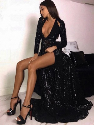 Sexy Black Sequins Prom Dresses | 2020 Slit Long Sleeve Evening Gowns BC1202_1