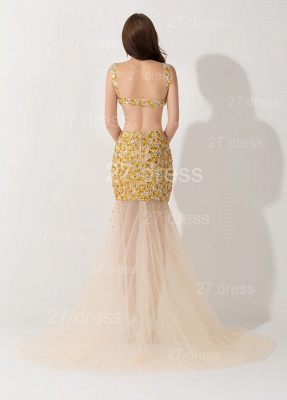 Sexy Crystals Illusion Mermaid Evening Dress Sweep Train_3