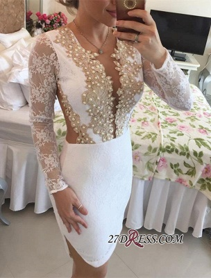 2020 Long-Sleeve Delicate Pearls Mini Lace Bodycon Short Homecoming Dress_5