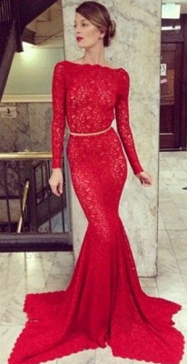 Backless Lace Mermaid Prom Dresses 2020 Bateau High Neck Long Sleeve Sheer Party Gowns with Court Train_1