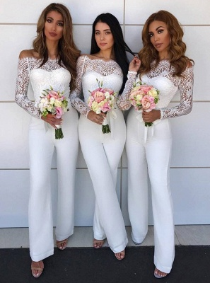 Charming Off-the-Shoulder Long Sleeves Bridesmaid Dress | Lace Appliques Jump Shirt On Sale BA8978_1
