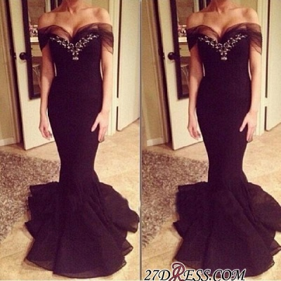 Sexy Sweep-Train Off-the-shoulder Crystal Mermaid Prom Dress_2
