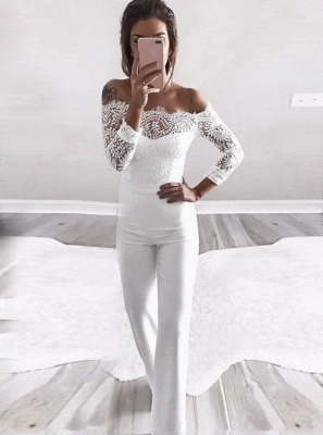 Charming Off-the-Shoulder Long Sleeves Bridesmaid Dress | Lace Appliques Jump Shirt On Sale BA8978_3