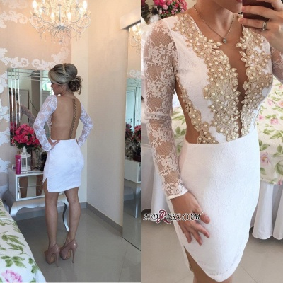 2020 Long-Sleeve Delicate Pearls Mini Lace Bodycon Short Homecoming Dress_3