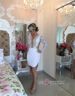 2020 Long-Sleeve Delicate Pearls Mini Lace Bodycon Short Homecoming Dress_1
