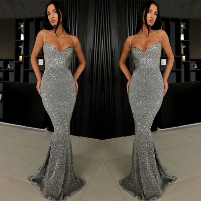 Sexy Spaghetti-Straps Sequins Prom Dress | 2020 Mermaid Long Evening Gowns BC0274_4