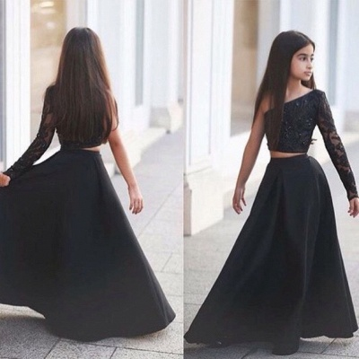 Sexy Black Two Piece Lace 2020 Flower Girl Dress Black One Sleeve A-line_4