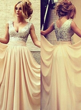 elegant long evening dresses 2020 v neck sequined nude chiffon prom gowns_2