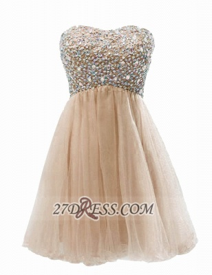 Lovely Semi-sweetheart Sleeveless Short Homecoming Dress Beadings Crystals Lace-up Tulle Cocktail Gown_1
