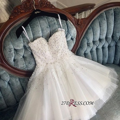 Knee-length Cute White Tulle Pearls Homecoming Dress BA9389_3