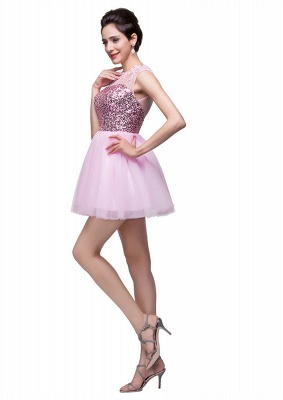 Cute Pink Sequins Sleeveless Homecoming Dress 2020 Tulle Short_3