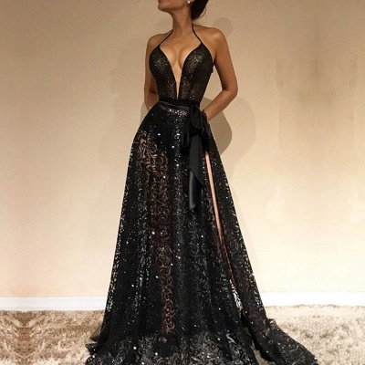 Sexy Black V-Neck Evening Gowns | 2020 Lace Prom Dress With Slit BC0229_2