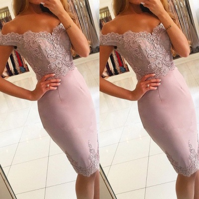 Elegant Off-the-Shoulder Short Prom Dress | 2020 Lace Mermaid Homecoming Dress_3