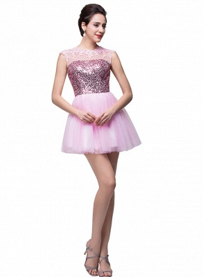 Cute Pink Sequins Sleeveless Homecoming Dress 2020 Tulle Short_2
