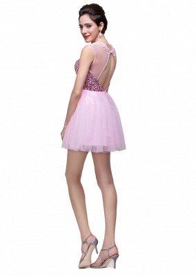 Cute Pink Sequins Sleeveless Homecoming Dress 2020 Tulle Short_4