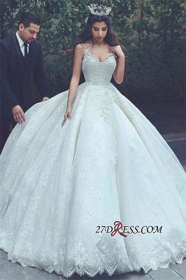 Ball-Gown Latest Appliques V-neck Lace Sleeveless Wedding Dress_2