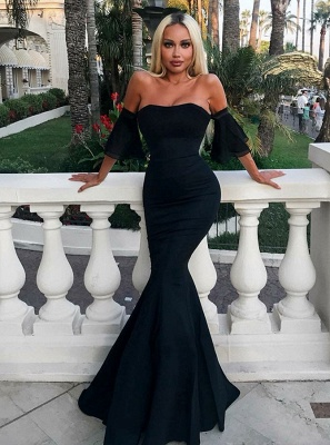 2020 Sexy Strapless Mermaid 2020 Evening Dress | Black Long Prom Gown On Sale_1