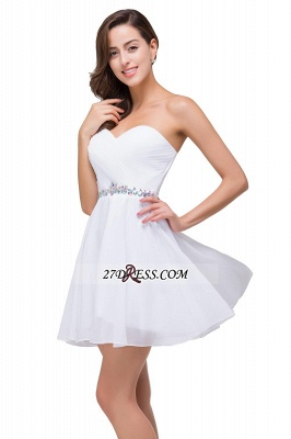 Short Sweetheart Chiffon White Elegant Crystal Homecoming Dress_5