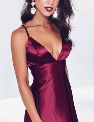 Elegant V-Neck Spaghetti-Straps Prom Dresses | 2020 Slit Long Evening Gowns BC1084_2