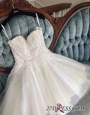 Knee-length Cute White Tulle Pearls Homecoming Dress BA9389_4