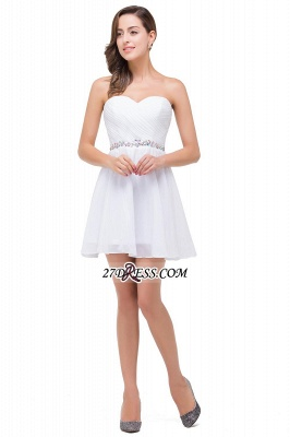 Short Sweetheart Chiffon White Elegant Crystal Homecoming Dress_2