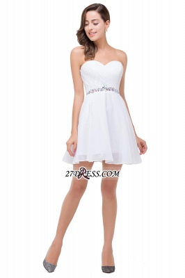 Short Sweetheart Chiffon White Elegant Crystal Homecoming Dress_4