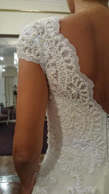 Glamorous Sweetheart Cap Sleeve Wedding Dress With Lace Appliques_3