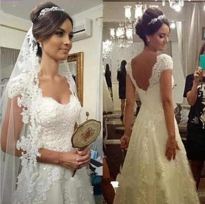 Glamorous Sweetheart Cap Sleeve Wedding Dress With Lace Appliques_1