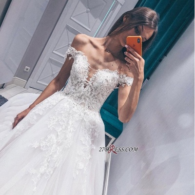 Off-the-shoulder Fascinating Appliques A-line Lace Wedding Dresses