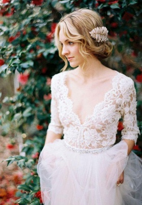 Gorgeous Hal-Sleeve Summer Lace Wedding Dress 2020 Tulle_4