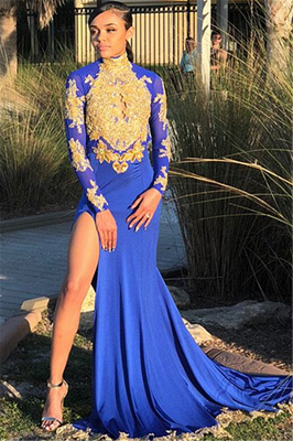 Long Sleeve Gold Appliques Prom Dress   Evening Gowns With Slit BK0_1
