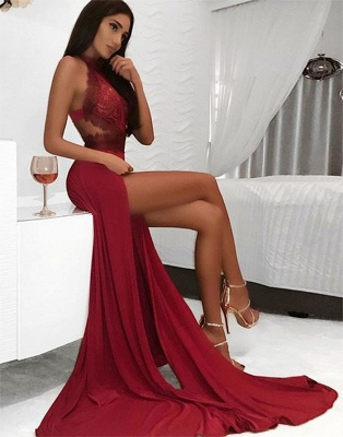 Sexy Red Halter Lace Evening Dress | 2020 Slit Prom Gowns On Sale BC0909_1