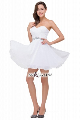 Short Sweetheart Chiffon White Elegant Crystal Homecoming Dress_6
