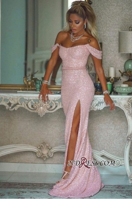 Floor-length Sheath Off-the-shoulder Beading Sash Side-slit Sequin Pink Prom Dress_2