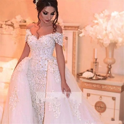 Glamorous Off-the-Shoulder 2020 Wedding Dress With Lace Appliques On Sale_3