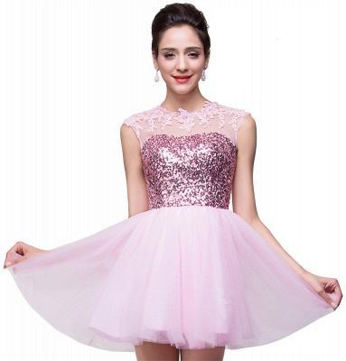 Cute Pink Sequins Sleeveless Homecoming Dress 2020 Tulle Short_1