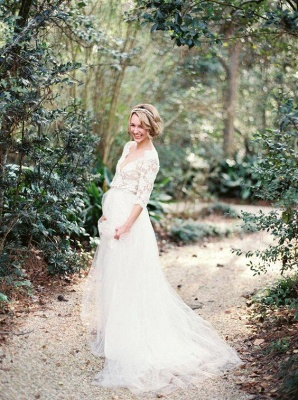 Gorgeous Hal-Sleeve Summer Lace Wedding Dress 2020 Tulle_6