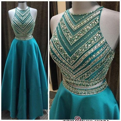 A-Line Two-Pieces Halter Luxury Crystal Sleeveless Prom Dress_2