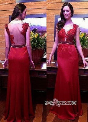 2020 Long Crystal Glamorous Red Lace Sleeveless Evening Dress_1