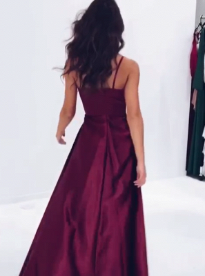 Elegant V-Neck Spaghetti-Straps Prom Dresses | 2020 Slit Long Evening Gowns BC1084_4
