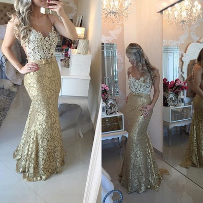 Modern Lace Appliques Mermaid 2020 Prom Dress Straps Sweep Train Bowknot_3