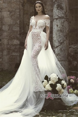 Lace Overskirt Charming Long Off-The-Shoulder Appliques Mermaid Bridal Gown_2