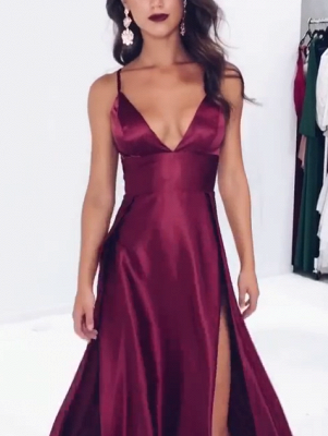 Elegant V-Neck Spaghetti-Straps Prom Dresses | 2020 Slit Long Evening Gowns BC1084_3