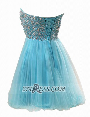 Lovely Semi-sweetheart Sleeveless Short Homecoming Dress Beadings Crystals Lace-up Tulle Cocktail Gown_2